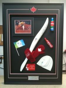 custom frame Vancouver Olympic memorabilia